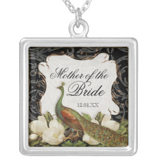 Vintage Peacock & Etchings Mother of the Bride Silver Plated Necklace