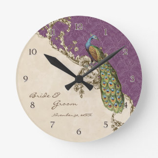 Vintage Peacock & Etchings Personalized Wedding Wallclocks