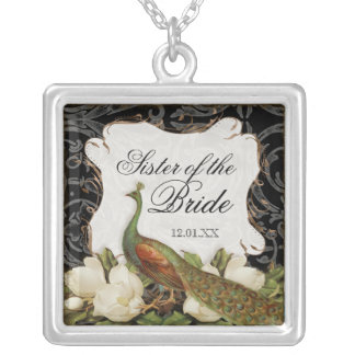 Vintage Peacock & Etchings Sister of the Bride Silver Plated Necklace