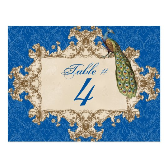 Vintage Peacock & Etchings, Table Number Card