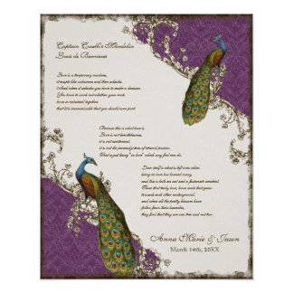 Vintage Peacock & Etchings - Wedding Personalized Print