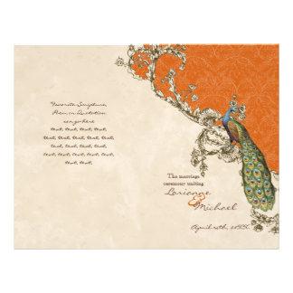 Vintage Peacock & Etchings Wedding Program 21.5 Cm X 28 Cm Flyer