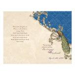 Vintage Peacock & Etchings Wedding Program Flyer