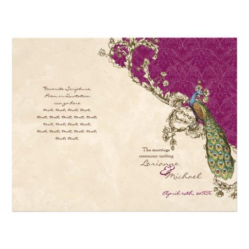 Vintage Peacock & Etchings Wedding Program Full Color Flyer
