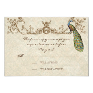 Vintage Peacock & Etchings Wedding RSVP Card 9 Cm X 13 Cm Invitation Card