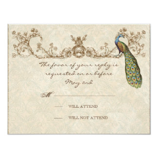 Vintage Peacock & Etchings Wedding RSVP Card 11 Cm X 14 Cm Invitation Card