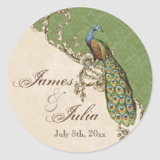 Vintage Peacock & Etchings  Wedding Seal Round Sticker