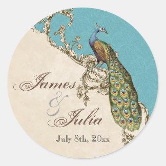 Vintage Peacock & Etchings  Wedding Seal Stickers