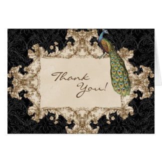 Vintage Peacock Etchings Wedding Thank You Notes Greeting Card