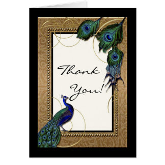 Vintage Peacock Feather 7 - Elegant Thank You Note Card