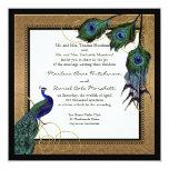 Vintage Peacock Feather 7 - Formal Elegant Wedding 13 Cm X 13 Cm Square Invitation Card