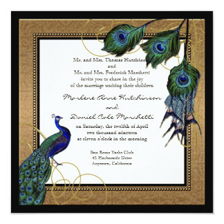 Vintage Peacock Feather 7 - Formal Elegant Wedding 13 Cm X 13 Cm Square Invitation Card