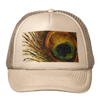 Vintage Peacock Feather Trucker Hat