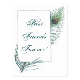 Vintage Peacock Feather Inspirational BFF Quote Postcard