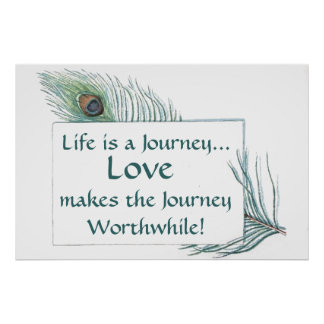 Vintage Peacock Feather Life Journey Love Poster