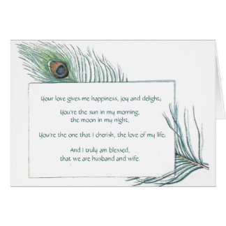 Vintage Peacock Feather True Love Quote Card