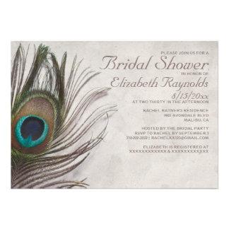 Vintage Peacock Feathers Bridal Shower Invitations Custom Invitation