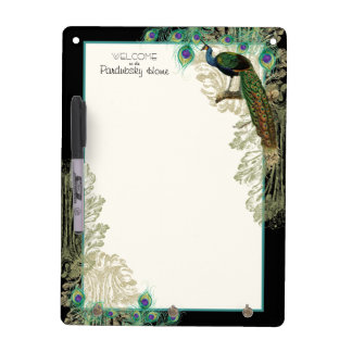 Vintage Peacock Feathers Etchings - Kitchen Decor Dry-Erase Whiteboard