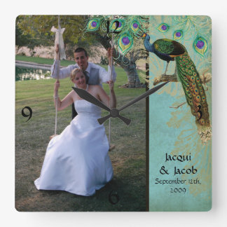 Vintage Peacock Feathers Etchings - Wedding Photo Square Wall Clock