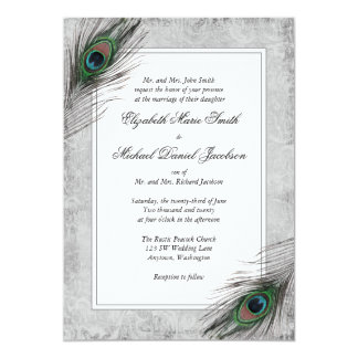 Vintage Peacock Feathers Gray Wedding Invitations