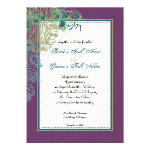 Vintage Peacock, Feathers n Etchings - Invitation