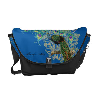 Vintage Peacock, Feathers n Etchings Pattern Bag Courier Bag