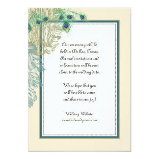 """Vintage Peacock, Feathers n Etchings Save the Date 5"""" X 7"""" Invitation Card"""