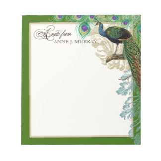 Vintage Peacock, Feathers n Etchings Swirl Antique Notepad