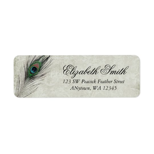 Vintage Peacock Feathers Return Address Label