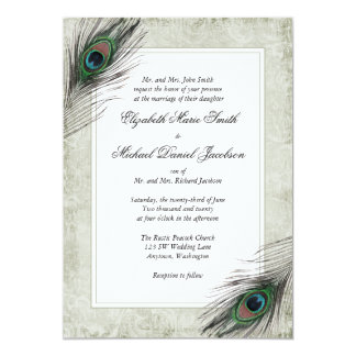 Vintage Peacock Feathers Wedding Card