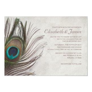 Vintage Peacock Feathers Wedding Invitations