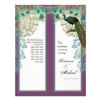 Vintage Peacock, Feathers - Wedding Program 21.5 Cm X 28 Cm Flyer