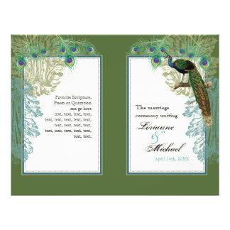 Vintage Peacock, Feathers - Wedding Program Flyer