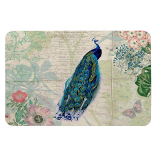 Vintage Peacock, Flowers and Butterfly Rectangle Magnets