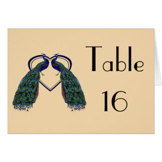Vintage Peacock Folded Table Number Cards