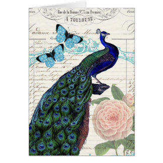 Vintage Peacock French Ephemera Collage Birthday Card