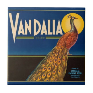 Vintage Peacock Fruit Crate Label Ceramic Tile