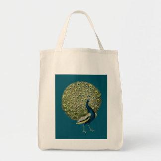 Vintage Peacock Grocery Tote Bag