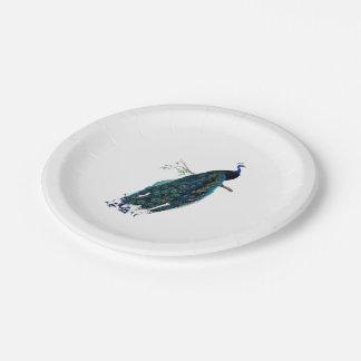 VIntage Peacock Illustration 7 Inch Paper Plate