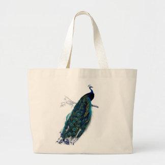 Vintage Peacock Jumbo Tote Bag