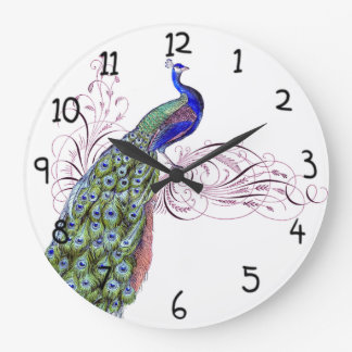 Vintage Peacock Large Clock