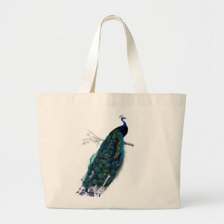 Vintage Peacock Large Tote Bag