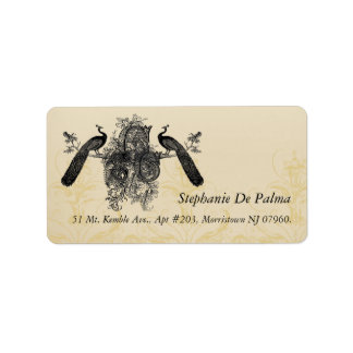 Vintage Peacock Monogram RSVP Return Address Label