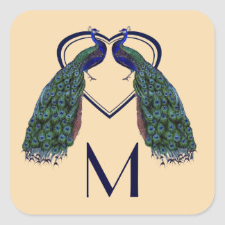 Vintage Peacock Monogram Stickers