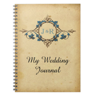 Vintage Peacock Monogram Wedding Journal