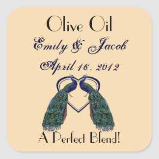 Vintage Peacock Olive Oil Favor Tags Square Sticker