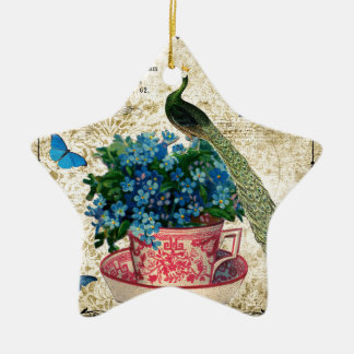 Vintage Peacock on a Cup of Tea Wall Art Ceramic Star Decoration