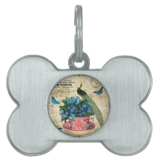 Vintage Peacock on a Cup of Tea Wall Art Pet Tag