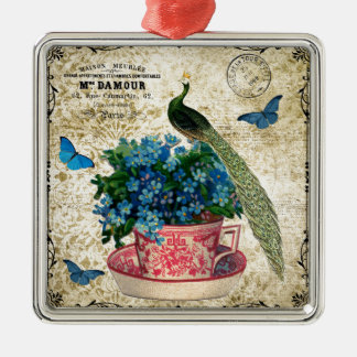 Vintage Peacock on a Cup of Tea Wall Art Silver-Colored Square Decoration