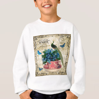 Vintage Peacock on a Cup of Tea Wall Art Sweatshirt